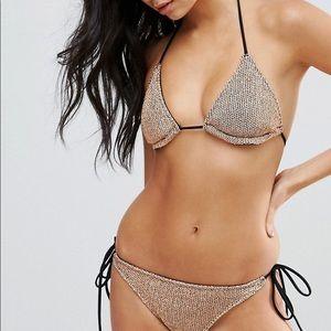 ASOS gold string 2 bathing suit set. NWOT